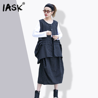 IASK 2018 New Summer Round Neck Sleeveless Black Striped Irregular Half Body Skirt Two Piece