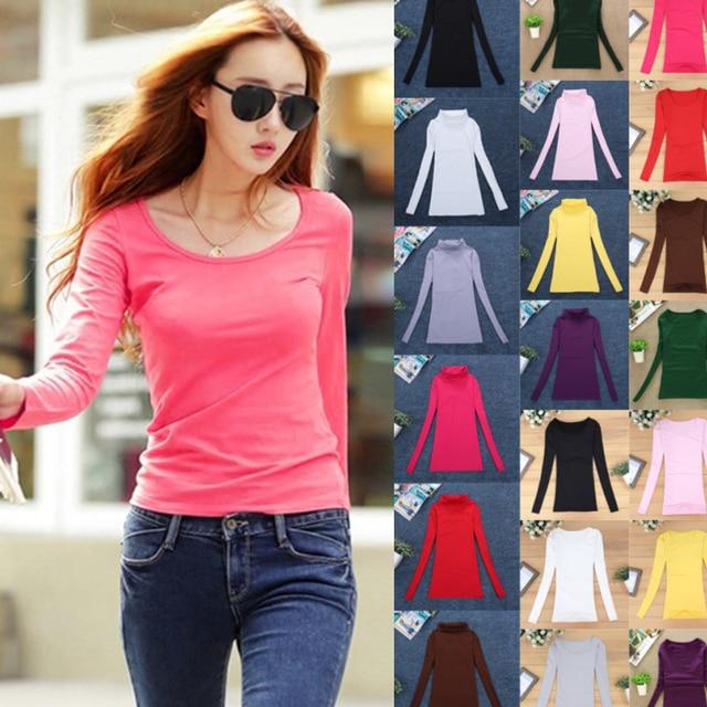 4b43e6b01657 10 colores básicos Tops mujeres suéteres Primavera Verano lana cuello Tee  Camisas manga larga elástico Jersey