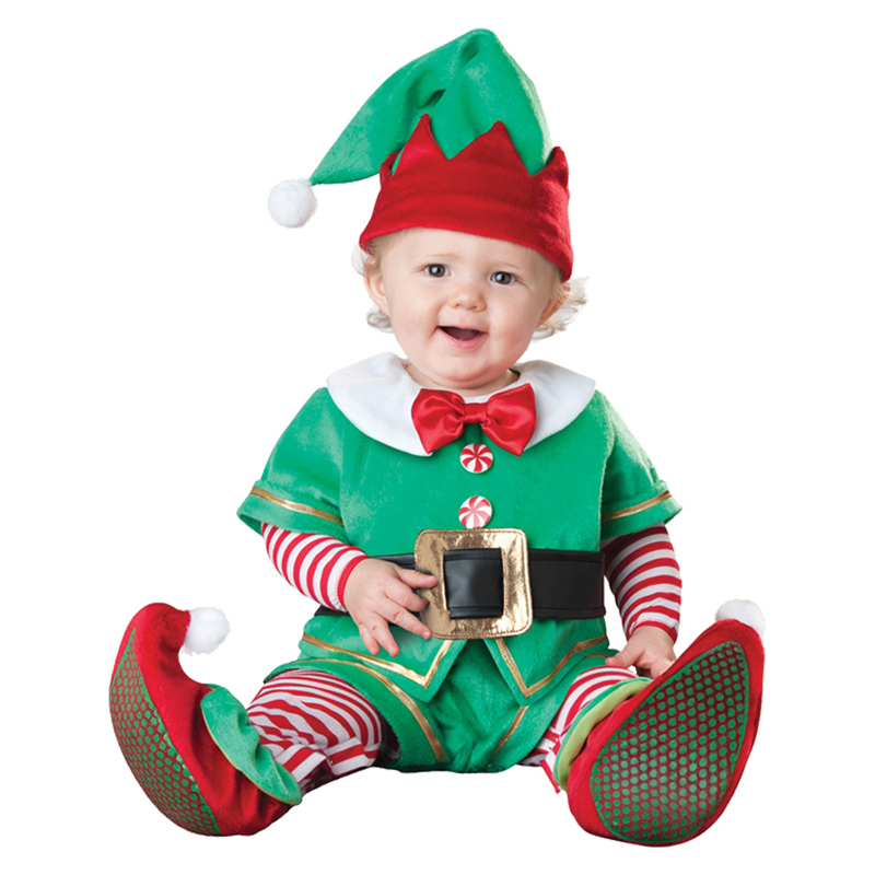 Sales Promotion Santa's Little Elf Baby Costume Christmas Holiday Party Dressing Up for Infant Age 12m-18m
