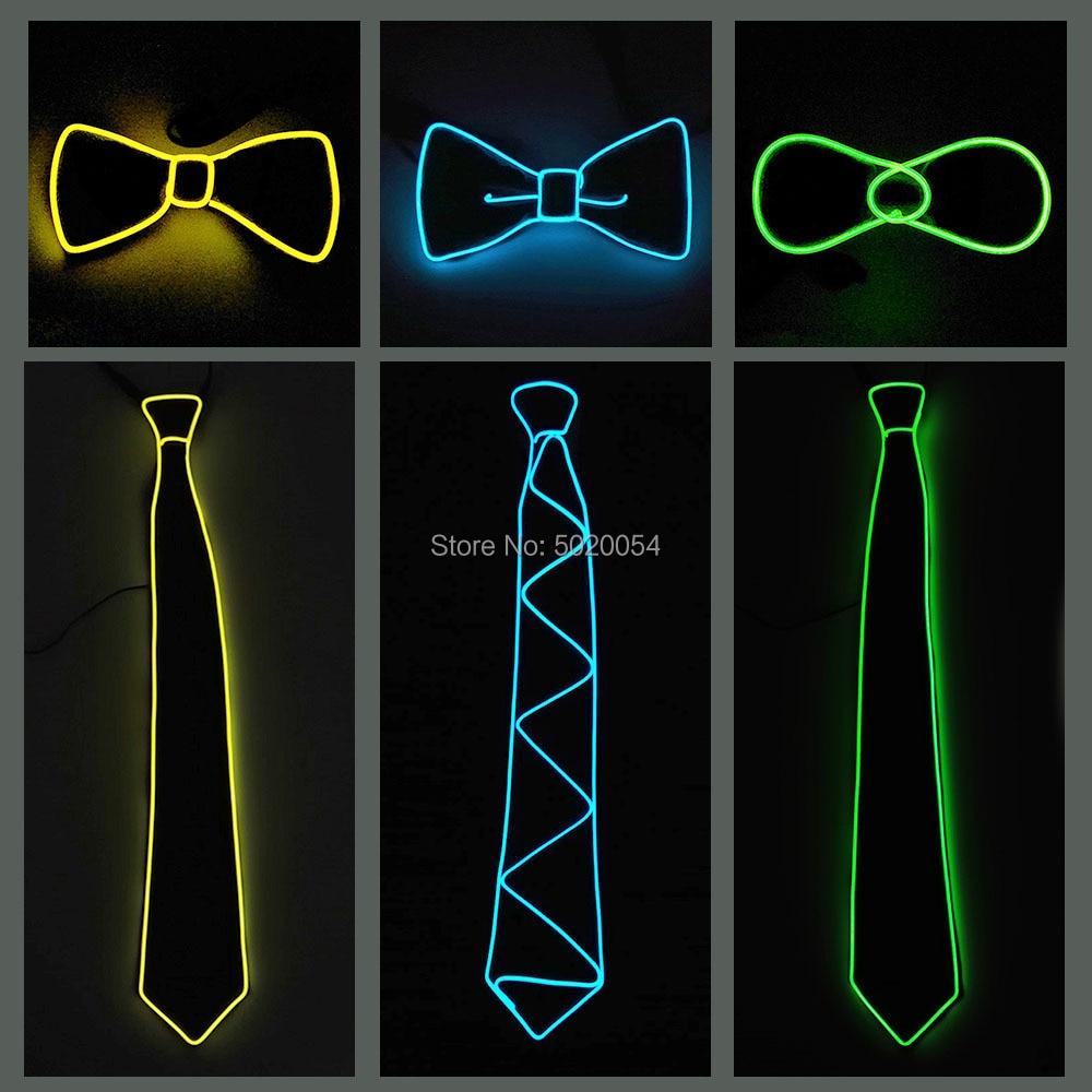 GZYUCHAO EL Men Gift EL Wire Black Ties Wedding Party Decor Neon LED Luminous Bow Neck Tie Ties For Men Boys Kids