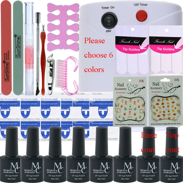 Nail art tools kit set 36W UV Lamp & 6 Color 10ml soak off Gel ...