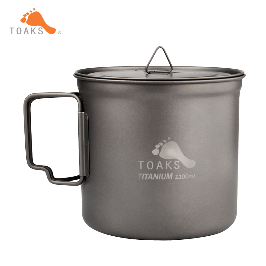 TOAKS Outdoor Ultralight Titanium Pot Folded handle Portable Picnic Cookware 1100ml with Cover POT-1100 toaks pot 1350 ultralight titanium 1350ml pot with bail handle outdoor camping tableware