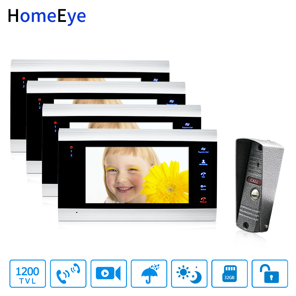 HomeEye 7'' Video Door Phone Intercom Door Bell Rainproof Motion Detection Multi-languages OSD Menu Video Record Support PIR 1-4