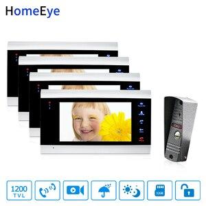 HomeEye 7 ''видеодомофон дверной звонок непромокаемый Обнаружение движения многоязычное меню OSD запись видео Поддержка PIR 1-4