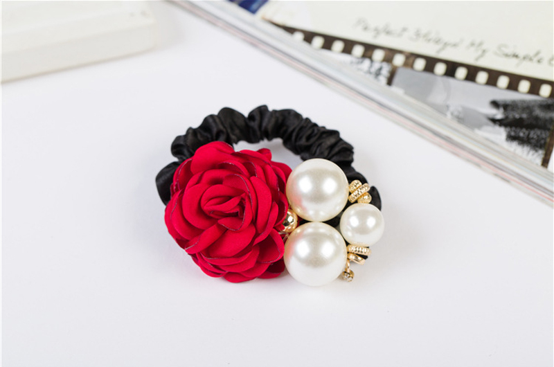 Details about  /Korean Fashion Faux Pearl Rose Flower Hair Camellia Rubber Band Hair Rope CF
