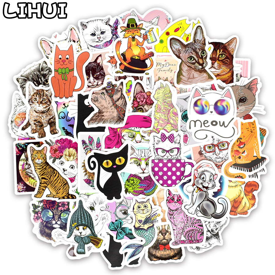50 PCS Cat Sticker Cartoon Kawaii Animal Waterproof Stickers Toys For Children To DIY Laptop Luggage Skateboard Motor Car Decals