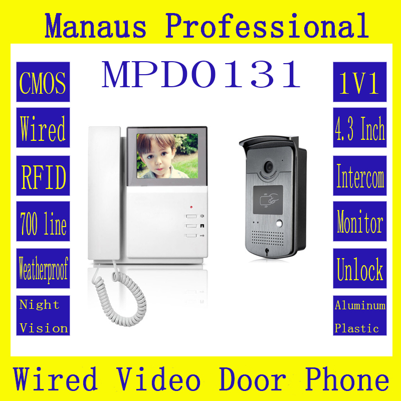 New 4.3 inch digital color TFT LCD Wired Monitor RFID Video Door Telephone Remote 1V1 Video Doorphone Smart Home Building D131b 7 inch video doorbell tft lcd hd screen wired video doorphone for villa one monitor with one metal outdoor unit night vision