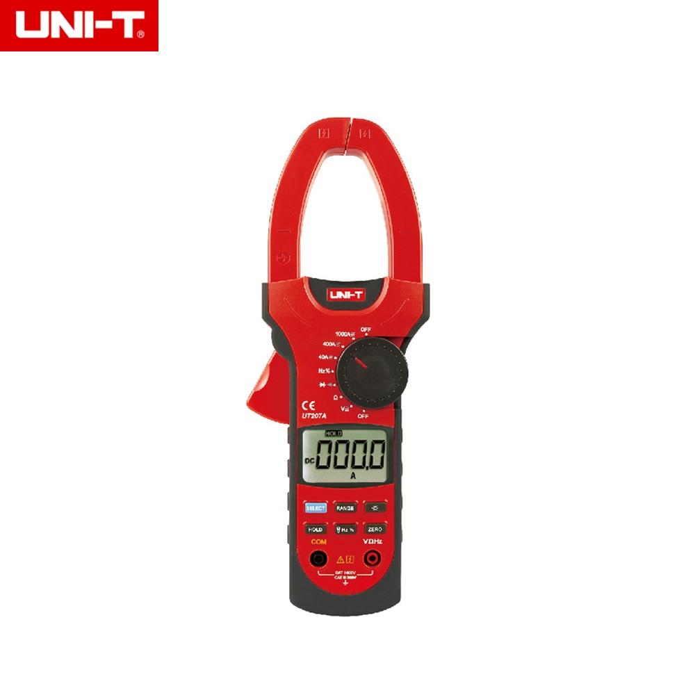 UNI-T UT207A Clamp LCD Digital Multimeter AC/DC Volt Amp Ohm Hz Tester uni t ut151a modern manual range lcd digital multimeter ac dc volt amp ohm capacitance tester ammeter multitester