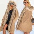 Alishebuy Women Winter Warm Faux Fur Hooded Open Front Fleece Parka Coat Overcoat