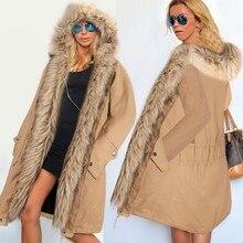 Alishebuy Женщины Зима Теплая Искусственного Меха С Капюшоном Открытой Передней Руно Куртка Пальто Шинель