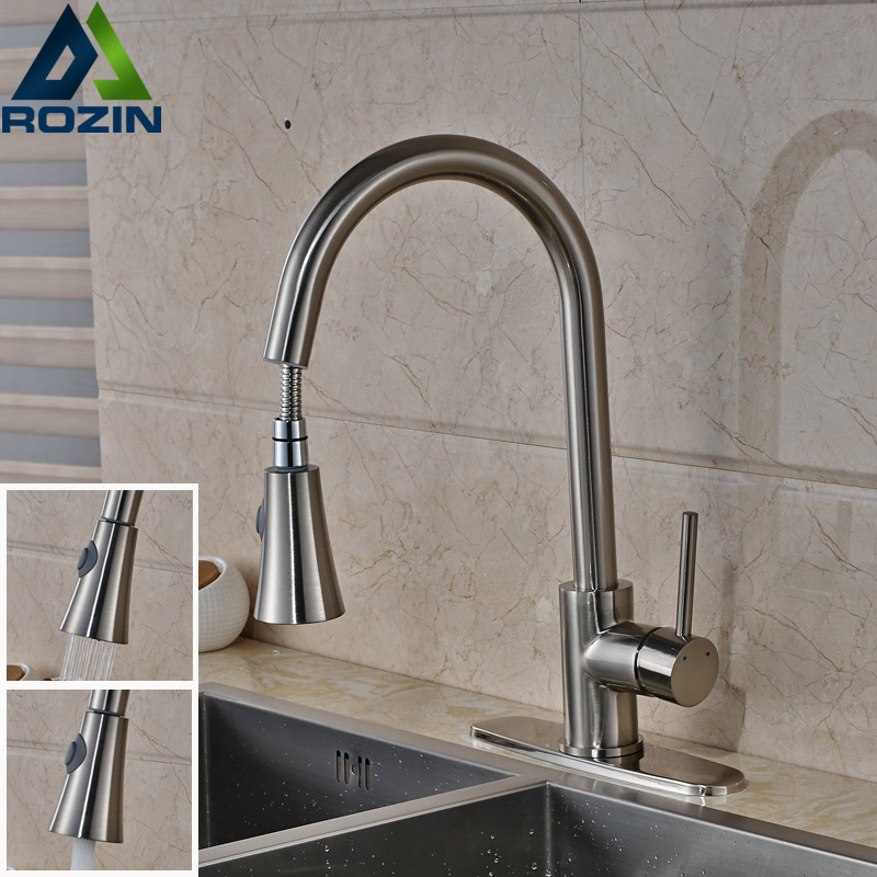 Brushed Nickel Single Lever Kitchen Pull Out Pull Down Sprayer Faucet Deck Mount 8 Hole Cover Mixer Taps best quality led color changing bathroom kitchen water taps single lever pull down kitchen mixer faucet brushed nickel finish
