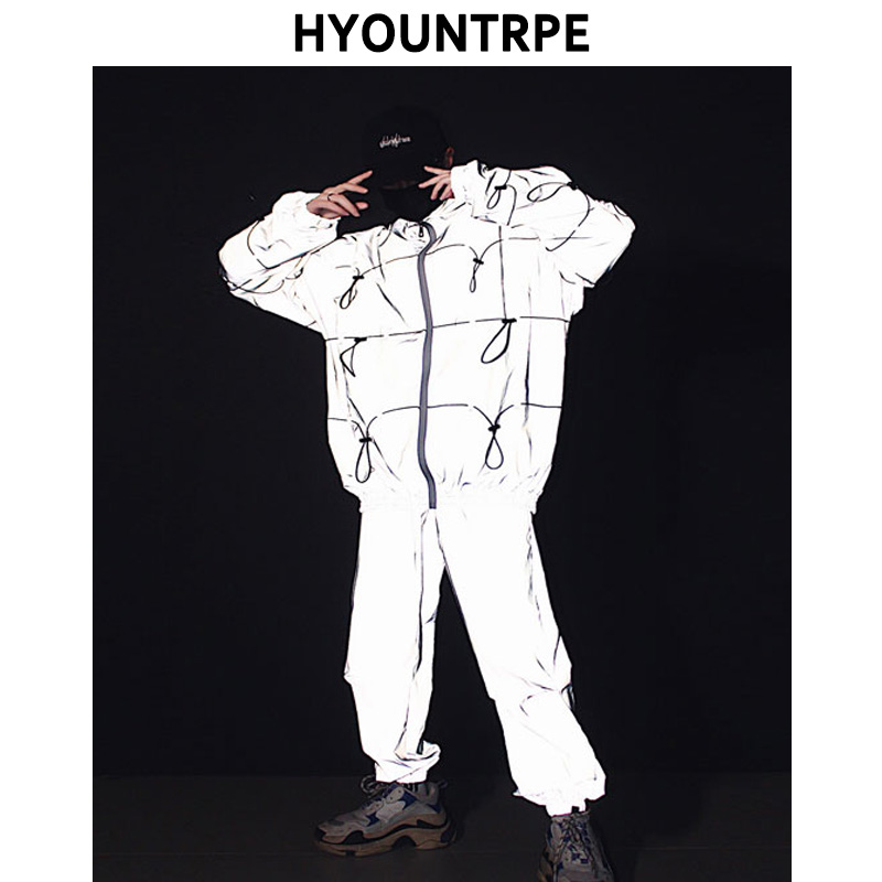 2 Pieces Sets Men's Fashion Reflective Full Zipper Jackets And Elastic Waist Loose Fit Reflect Pants Hip Hop New Streetwear Set