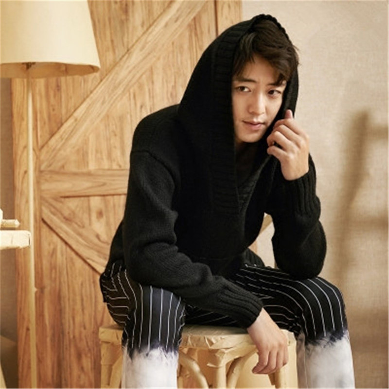 New Fashion 100% Hand Made Pure Wool Hooded Knit Men Solid H-straight Loose Pullover Sweater One&over Size