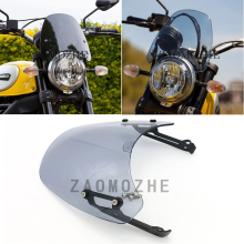 Motorcycle Smoke Windscreen Windshield Wind Shield Protection Flyscreen For Ducati Scrambler classic 2015 2016 2017 2018