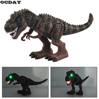 Ocday 1 unid juguete eléctrico robusteza dinosaurio de gran tamaño con luz sonido Tyrannosaurus rex Modelo figura Juguetes para niños regalo