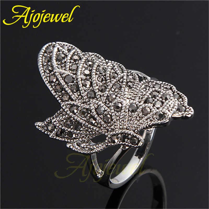 Ajojeel Vintage ใหญ่ผีเสื้อแหวนเครื่องประดับ Marcasite แหวน Retro เครื่องประดับโบราณแมลง Anel