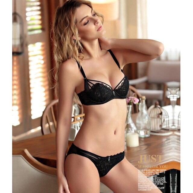 ba33a1f8336 Push Up Lace Bra Set Women Sexy Underwear Lingerie Set 1 2 Hollow ...
