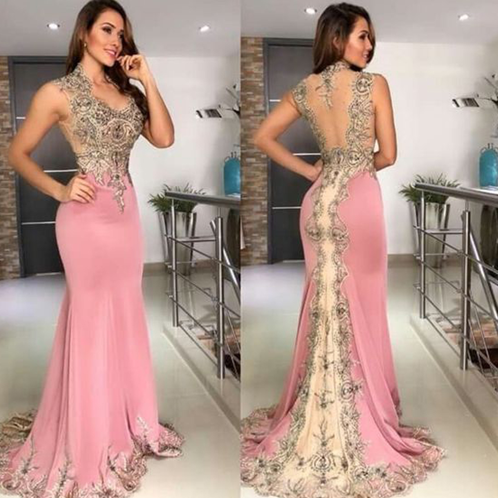 pink   prom     dresses   2019 v neck crystal beaded lace backless chiffon evening   dresses   arabic evening gowns
