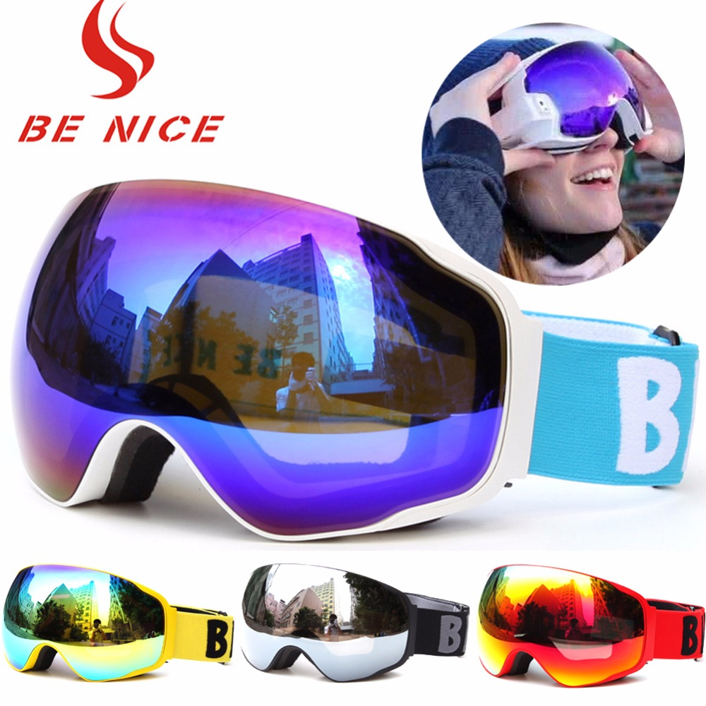 Cross Country Mountain Windproof Skiing Goggle Adults Sportswear Snow Eye Wear Accessories UV 400 Double Anti Fog Lens