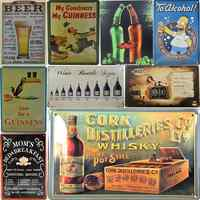 30X20cm Vintage Tin Metal Signs Plates For Bar Pub Caf Beer Spirits Wine Guinness Sign Wall Decor Shabby Chic Decor Man Cave H13