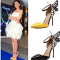 Big Size Womens high heels Pumps 2017 European Spring Autumn Bowknot Pumps Sandals Pointed bridal Shoes Wedding yellow Black