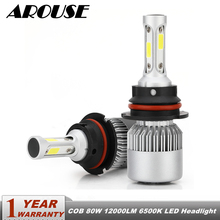 цена на AROUSE 9007 H4 Hi lo Beam H7 H11 H1 LED Car LED Headlight Bulbs COB 80W 12000LM 6500K Auto Led Headlamp Fog Lamp Car Light DC12v