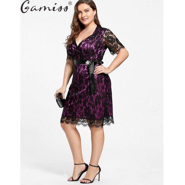 Gamiss Кружево Плюс Большой Размеры официальная Вечеринка платье большой Размеры Для женщин Кружево элегантное платье Для женщин Вечеринка короткий рукав Костюмы 5xl