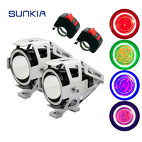 SUNKIA 2Pcs Set Silver Case U7 Motorcycle Headlight Fog Lamp With Switch Angel Eye Ring Devil