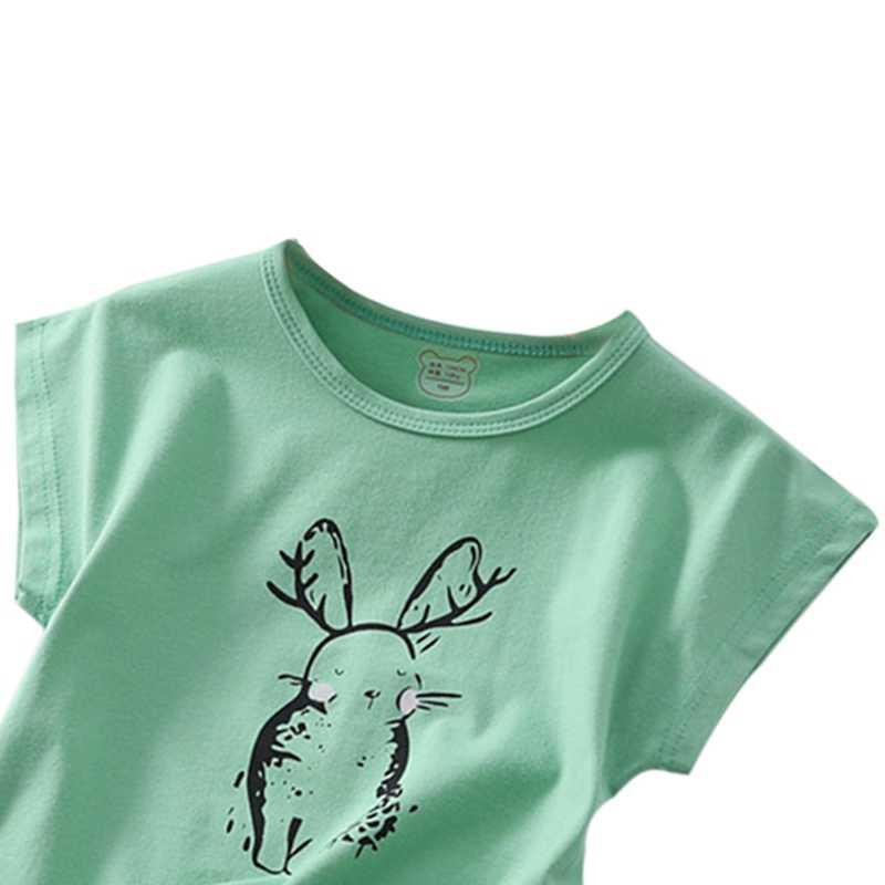 Kids Boys Girl Summer Cotton Cartoon Rabbit Print Pattern T-shirt Tops Blouse Short Sleeve Casual Tee Shirts
