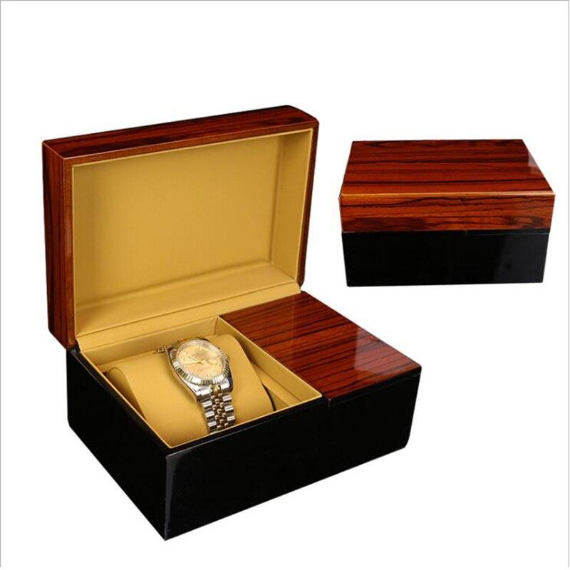 Boîte de montre boîte en bois PU cuir noir flip gif boîte d'affichage rétro Simple gothique Steampunk boîte