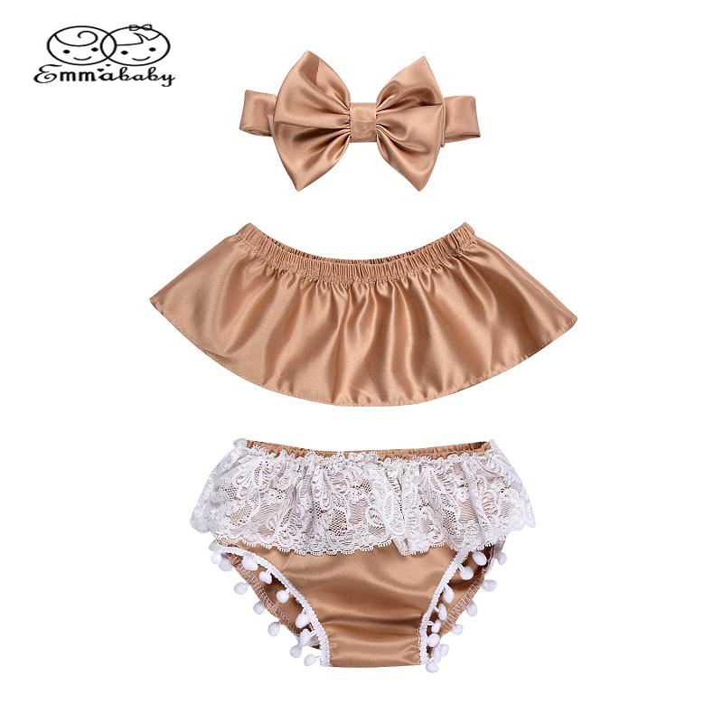 Emmababy Infant Summer Clothes Toddler Baby Girl Sleeveless Off shoulder Tank Tops+Lace Tassel Baby Shorts+Headband Set 3PCS