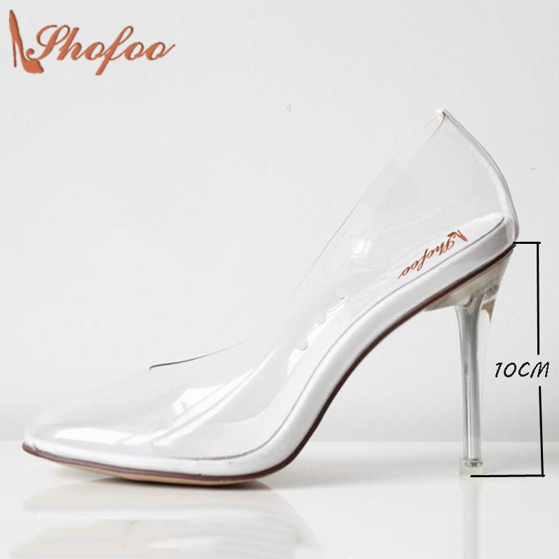 Transparent Shoes Women Bridals Wedding Princess Cinderella Clear Glass PVC Fetish High Heels Clear Pumps Large Size4-16 Shofoo romyed bridals wedding shoes kim kardashian pumps superstar shoes top quality flowers evening christian shoes size 4 16 shofoo