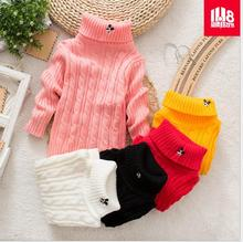 Thread Turtleneck collar Pullover Knitted Clothes Cute Character For Children Knitting Hem Warm Sweater Playing Underwear S0100