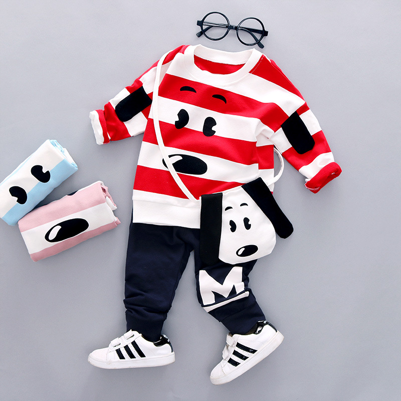 Boy Spring 2017 New Suit Cute Boys Infant Cartoon Dog Cotton Clothes Kids Two-piece Striped Long Sleeves Clothing Set with Bag