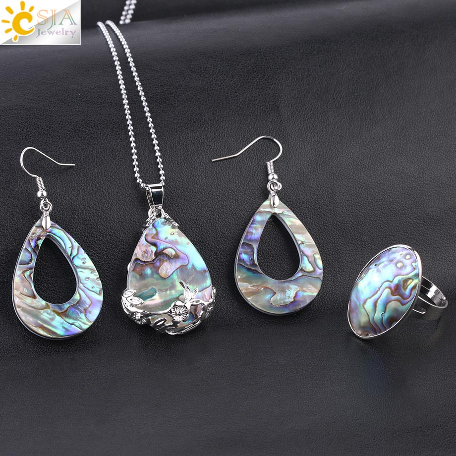 CSJA New Zealand Natural Abalone Shell Jewelry Set Shells Earrings Water Drop Pendant Oval Finger Ring Women Reiki Necklace F614