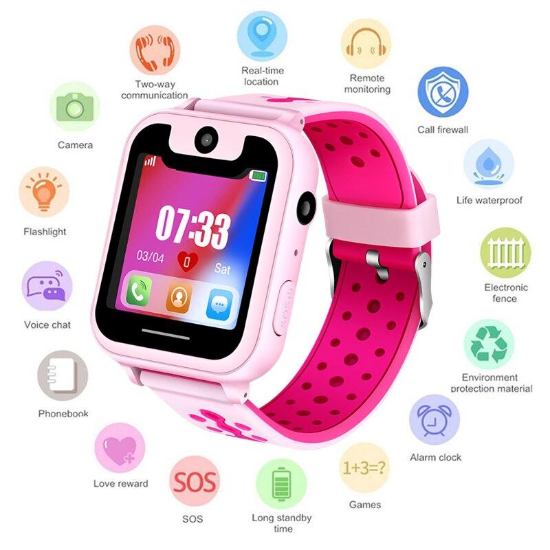 2018 nuevo reloj inteligente LBS chico SmartWatches reloj de bebé para los Niños SOS llamada ubicación localizador del buscador de rastreador Anti perdido Monitor + caja