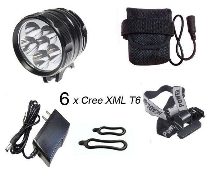 New 7200 Lumen 6x CREE XM-L T6 LED Headlight Headlamp Bicycle Bike Light Waterproof Flashlight with 6*18650 battery pack 2 in 1 uniquefire 3 x cree xm l t6 led 3 mode bicycle bike light 4000 lumen headlight headlamp head lamp