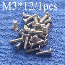 1Pcs M3*12 Flat Head Stainless Steel SS304 Machine Countersunk Screw Bolt Fastener Allen Key Head hex socket countersunk head