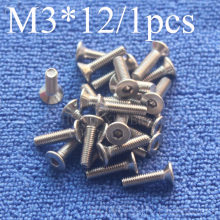 1 Pcs M3 * 12 ראש שטוח נירוסטה SS304 מכונת Countersunk בורג בורג אטב אלן מפתח ראש hex socket countersunk ראש(China)