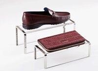 Sapato Bolsa de Metal com acrílico carteira de Exibição Sapateira Carrinho Bolsa produto digital Saco titular sapatos Display Stand rack