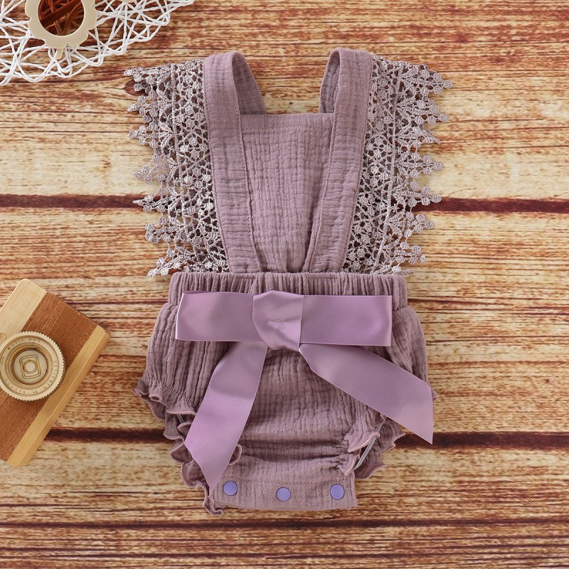 0-18M Cotton Baby Girl Clothes Toddler Baby Girls Sleeveless Lace Bow Romper For New Born Infant Jumpsuit Playsuit For Girl