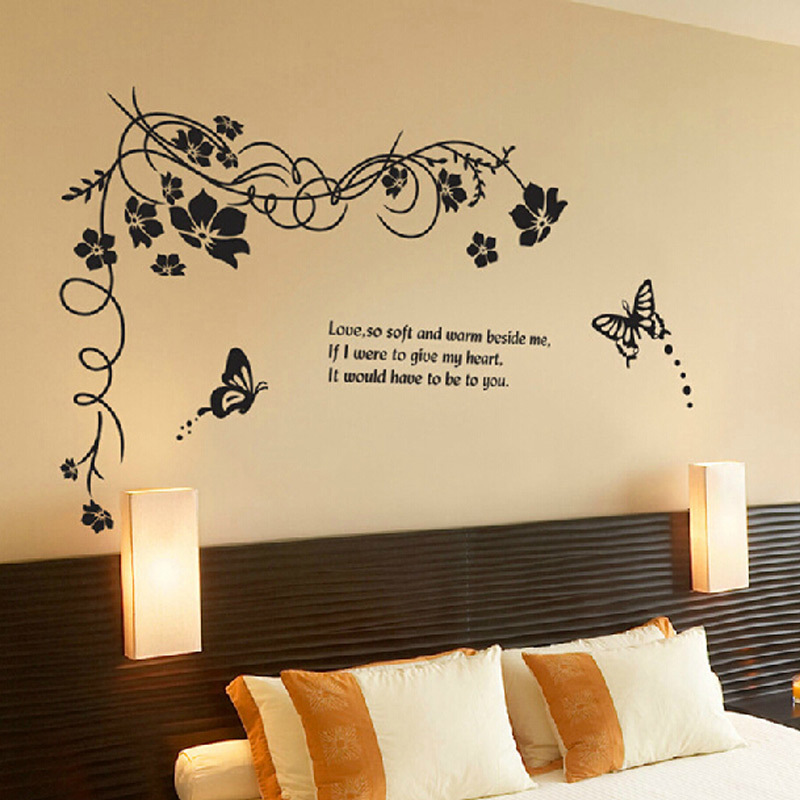 Black Red Flower Vine Wall Stickers Home Decor Butterfly Living Room Bedroom Wall Decal Sticker On Wall Free Shipping Wall Decals Stickers Wall Stickersticker On Wall Aliexpress