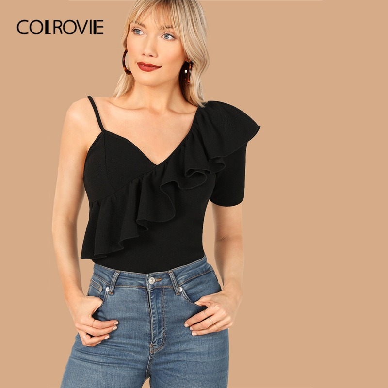 COLROVIE Black Asymmetrical Neck Ruffle Trim Elegant   Blouse     Shirt   Women 2019 Summer Workwear Office Ladies Tops And   Blouses