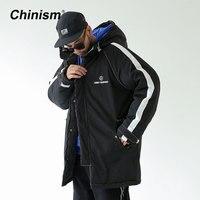 CHINISM Mùa Đông Phía Sọc Dài Hoodie Áo Khoác Mens Stylish Đen Trắng In Dày Trùm Đầu Parkas Loose Outwear Áo Khoác