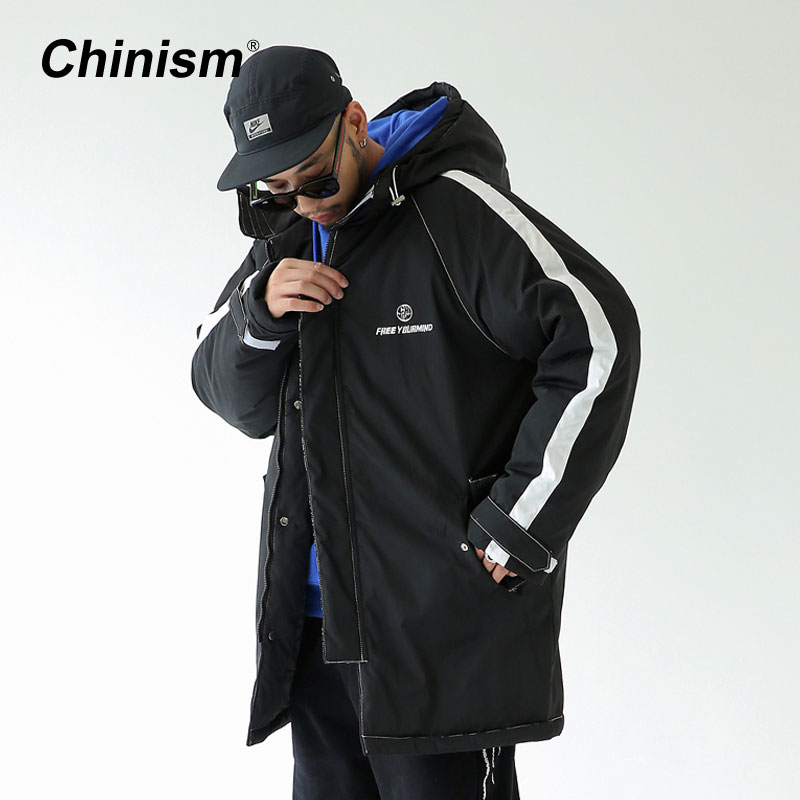 CHINISM Winter Side Striped Long Hoodie Coats Mens Stylish Black White Printed Thick Hooded Parkas Loose Outwear Coats