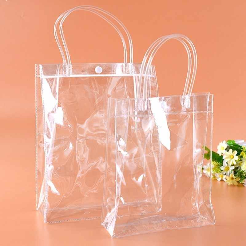 20pcs/lot  Clear PVC gift tote packaging bags with hand loop Transparant Plastic handbag closable garment bag  9 sizes