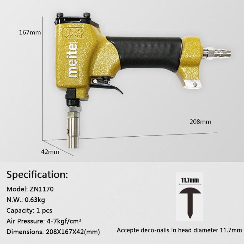 MEITE 1170 Pneumatic Pins Gun 11.7mm in Head Diameter Pneumatic Deco Nailer for make sofa/furniture  Jun.14 update tool