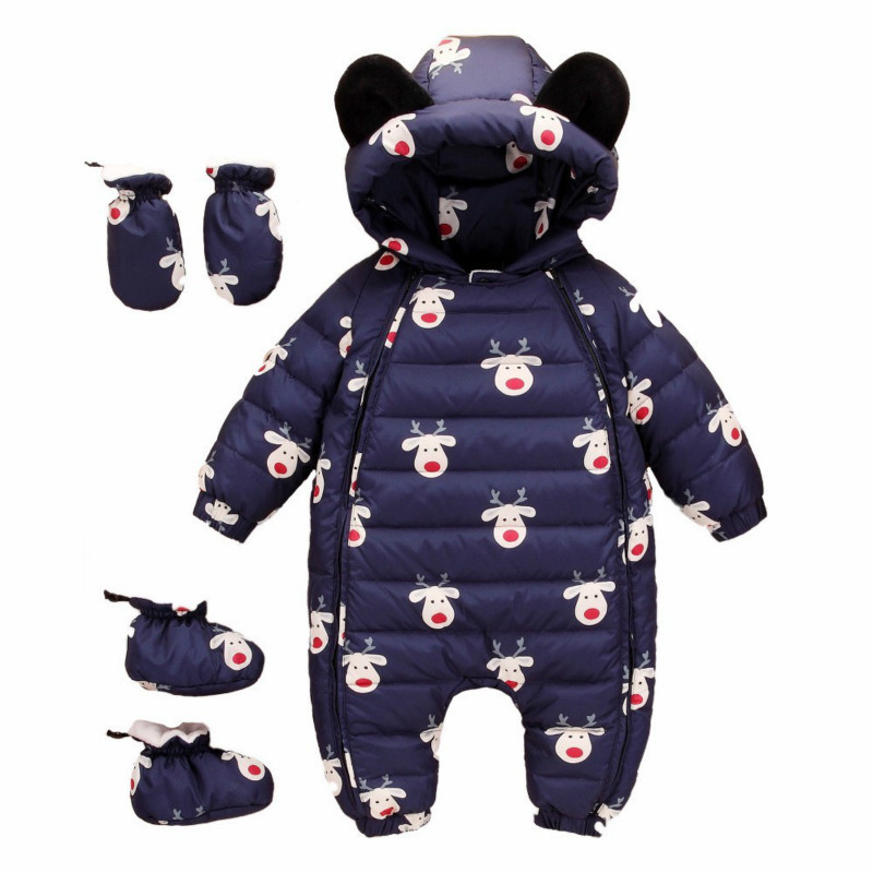 Winter Baby Snowsuit Boys Snow Wear Jumpsuit Cartoon Kids Infant Hoodie Outerwear Girls Clothing Bodysuit Duck Down Jacket Coats infant snowsuit new toddler boys girls winter suits thermal down jacket thickening jumpsuit fur collar baby snow wear