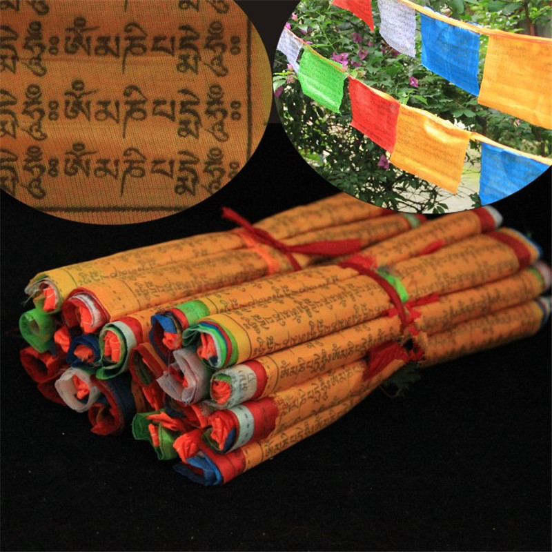 Tibetan Buddhist Prayer Flags 20 Flags Tibet Style Decorative Flag A Total of 5 meters clear Pattern Sutra streamer Free Ship
