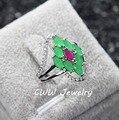 Branco elegante banhado a ouro Micro CZ pavimentada Natural verde esmeralda pedra anéis de noivado para mulheres R077